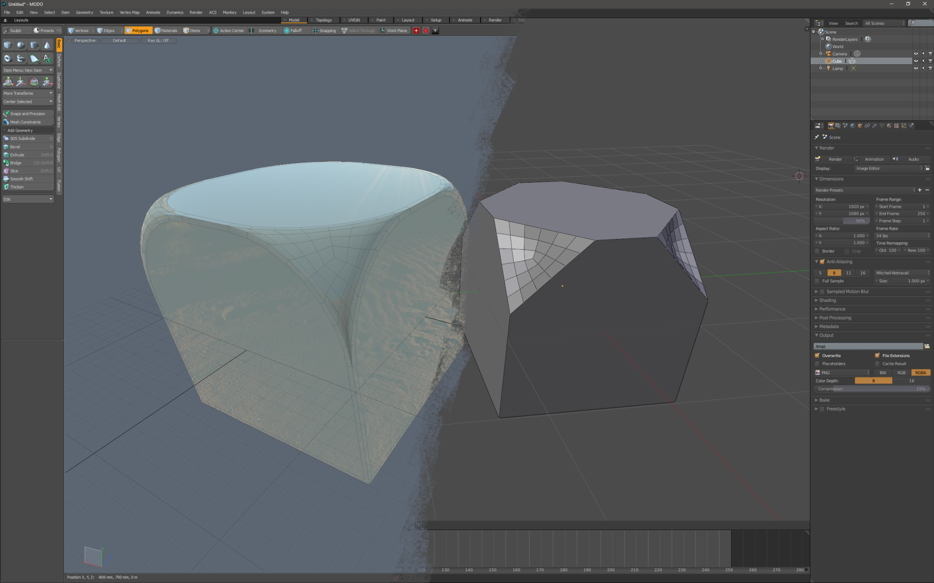 Vertex Bevel Tool in MODO and Blender: Different behaviours but both useful